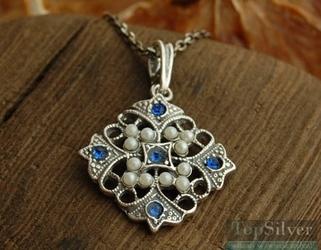 PANAMA srebrny wisiorek z szafirami i perłami