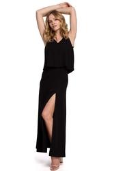 Czarna długa sukienka z dwuwarstwową górą