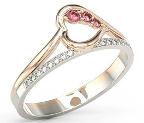 Pierścionek z różowego i białego złota z rubinami i brylantami bp-83pb
