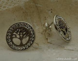 Srebrne kolczyki z kryształem-kryształowe drzewo -