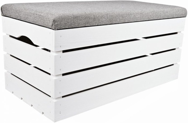 Pufa kufer skrzynia drewniana sosnowa siedzisko 80cm malowana biała