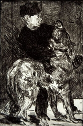 Boy and dog, edouard manet - plakat