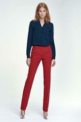 Czerwone Spodnie Eleganckie z Kantem