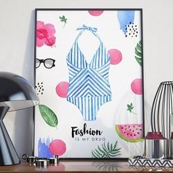 Plakat w ramie - fashion is my drug , wymiary - 50cm x 70cm, ramka - biała