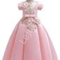 Długa suknia dla dziewczynki z gipiurową aplikacją, jasny róż 202
