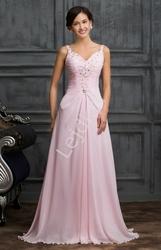 Różowa długa suknia wieczorowa zdobiona kryształkami, koralikami i cekinami