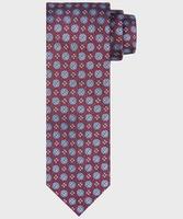 Bordowy krawat jedwabny w kwiatowy wzór
