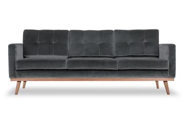 Sofa fern z funkcją spania welurowa 3-osobowa  welur bawełna 100 popiel