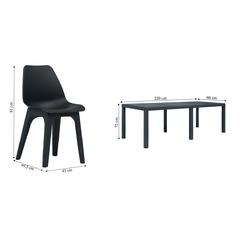 Zestaw ogrodowy stół + 8 krzeseł durango plastik ciemnoszary