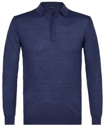 Elegancki niebieski sweter polo z długimi rękawami  xxl