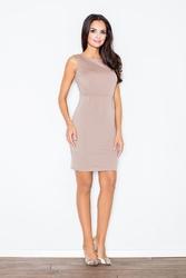Beżowa Modna Ołówkowa Sukienka Bez Rękawów