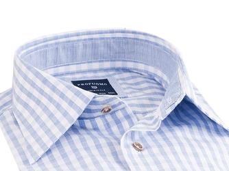 Elegancka koszula męska biała w dużą błękitną kratę SLIM FIT 40