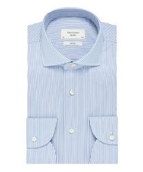 Niebieska koszula profuomo sky blue w biały prążek 45