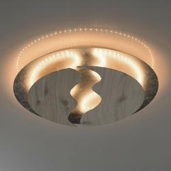 Nieszablonowa lampa industrialna led, srebrno-drewniana regenbogen techno 712011601
