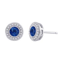 Staviori Kolczyki. 36 Diamentów, szlif brylantowy, masa 0,21 ct., barwa H, czystość SI2. 2 Szafiry, masa 1,00 ct.. Białe Złoto 0,585. Średnica 6,5 mm.