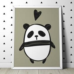 Love panda - plakat dla dzieci , wymiary - 50cm x 70cm, kolor ramki - czarny