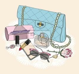 Plakat podstawowe mody. tło z torby, okulary, buty