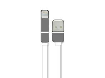 Płaski kabel usb-microusb-lightning biały - biały