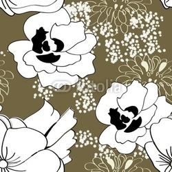 Plakat na papierze fotorealistycznym szwu z białymi kwiatami