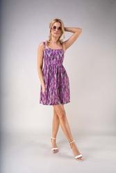 Rozkloszowana letnia sukienka na szelkach - lawendowa