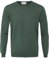 Sweter  pulower o-neck z wełny z merynosów zielony xxl
