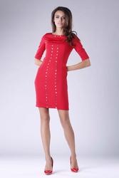 Czerwona mini ołówkowa sukienka z dżetami