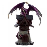 Fioletowy smok na chatce - figurka fantasy 22cm