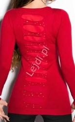 Sweter młodzieżowy z kryształkami i jetami | tunika dzianinowa czerwona 8185