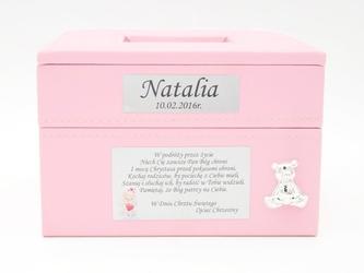 Szkatułka różowa z miejscem na zdjęcie grawer roczek chrzest - szkatułka różowa