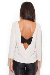 Beżowa bluzka z dekoltem na plecach