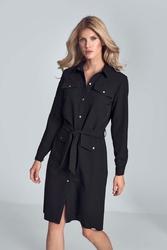 Czarna koszulowa sukienka z kieszeniami zapinana na zatrzaski