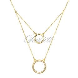 Srebrny naszyjnik pr.925 okręgi z cyrkoniami - pozłacane - żółte złoto