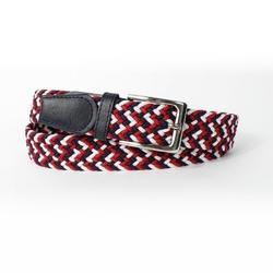 Elegancki pleciony pasek męski solier sb07 black-red-white - biało-czarno-czerwony