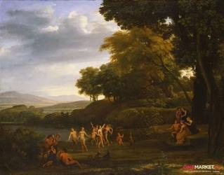 krajobraz z tańcem satyrów i nimf ii - claude lorrain ; obraz - reprodukcja