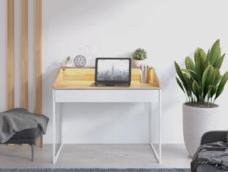 Nowoczesne biurko finka z oświetleniem  blat jesion górski, szuflada biel arktyczna, stelaż biały