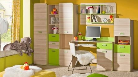 Komoda lorento z szufladami i półkami w kolorze zielonym