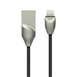 Kabel USBLightning 2.0, USB 2.0 A M- Apple Lightning M, 1m, okrągły, czarno-srebrny, DA, box, DT0005BK