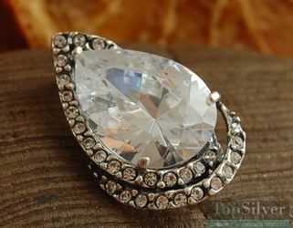 Cesarska łza - srebrna broszka kryształ i 28krysztalkow