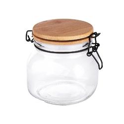 Słoik  pojemnik szklany na produkty sypkie altom design 750 ml z pokrywą i klipsem