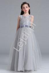 Szara długa sukienka tiulowa dla dziewczynki