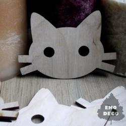 Drewniana dekoracja głowa kota 9,5x6,5 cm - GKO