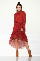 Zwiewna Sukienka Asymetryczna Z Falbankami we Wzory Druk 1