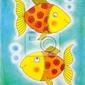 Plakat dwa złote ryby, rysunek dziecka, akwarela na papierze