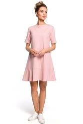 Romantyczna pudrowa sukienka z wiązaniem na karku o kroju litery a