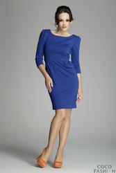Niebieska Klasyczna Elegancka Sukienka z Rękawem 34