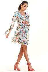 Ecru Kwiatowa Sukienka Mini na Lato