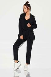 Czarne Tkaninowe Spodnie Basic o Zwężanej Nogawce