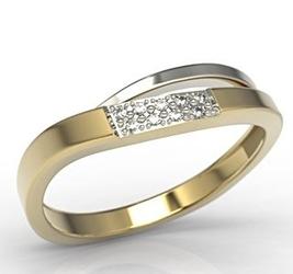 Pierścionek z białego i żółtego złota z diamentami lp-97zb-r - żółte i białe  diament