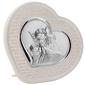 Srebrny obrazek anioł stróż w panelu ecru z grawerem
