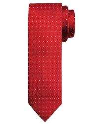 Elegancki czerwony krawat profuomo w białe i granatowe kropki